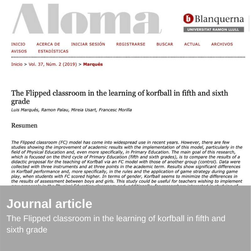 Nueva Publicación - The Flipped classroom in the learning of korfball in fifth and sixth grade