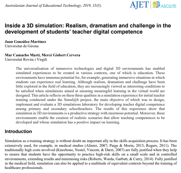 Inside a 3D simulation: Realism, dramatism and challenge in the development of students' teacher digital competence