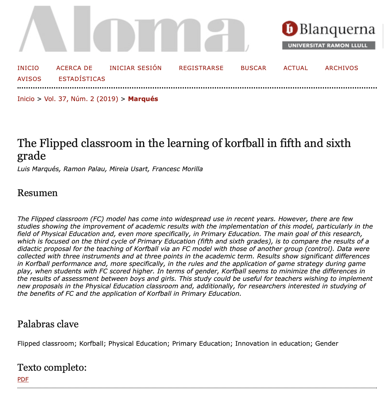 The Flipped classroom in the learning of korfball in fifth and sixth grade