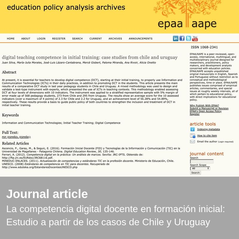 New publication - Digital teaching competence in initial training: case studies from Chile and Uruguay